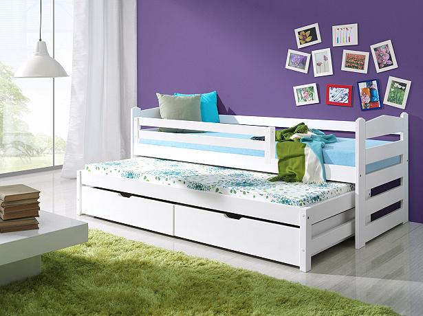 Dětská postel se zábranou a úložným prostorem